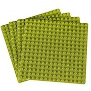 Premium Light Green 5 X 5 Construction Base Plates - 4 Pack Bundle - (Lego Compatible)
