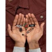 ASOS Pin Badge 5 Pack With Lost Love Design - Multi