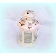 Felinar alb din metal pentru lumanare pastila - romantic roses - 1069