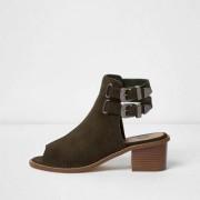 River Island Womens Khaki suede western peep toe shoe boot