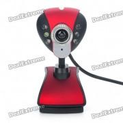 300KP CMOS PC USB Webcam w/ 6-LED White Light/Microphone - Black + Red