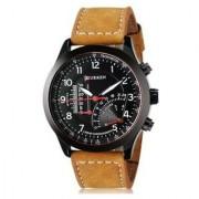 Stylist Curren Black Dial Brown Leather Belt Analog Men'S Watch By Hans-010