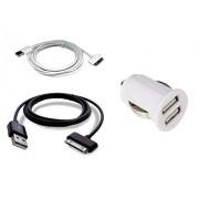 TheTransporter El transportador largo (1 negro, 1 blanco) Tab 2 sincronización Cable USB + blanco de doble puerto USB cargador para Samsung Note 10,1 N8000 N8110 Samsung Galaxy Tab 2 10,1 P5110 y 7,1