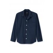 ランズエンド LANDS' END メンズ・ラウンジ・シャツ/コットン・シアサッカー(クラシックネイビーストライプ)