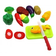 Little Treasures 12 PCS Kitchen Kids Play Cutting Fruits Vegies Fish Meat Toy Set Pretend Food Playset multicolored fruit pieces to be sliced up with knife and cutting board
