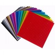 6 X 6 Rainbow Construction Base Plates - 24 Pack Bundle - LEGO Compatible