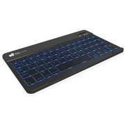 EC Technology® 7 Colors Backlit Bluetooth Keyboard Ultra-Slim Zinc Alloy Wireless Keyboard for iOS Android Windows PC Tablet Smartphone Built in Rechargeable Li-polymer Battery