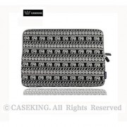 CASEKING Bohemian Style Canvas Notebook Ultrabook 11 Inch Sleeve Carrying Case Bag for Macbook Air A1465 / 11.6-Inch Acer Chromebook - Black Elephant design