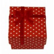 Dárková krabička papírová puntík 4x4cm 9132 Červená 9132