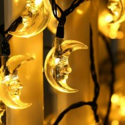 LED Hold karácsonyi dekor füzér meleg fehér
