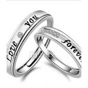 Ringen Verstelbaar Dagelijks / Causaal / Sport Sieraden Sterling zilver Echtpaar Ringen voor stelletjes 2 stuks,Verstelbaar Zilver
