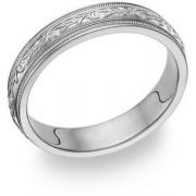 14K White Gold Paisley Wedding Band Ring