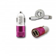Chargeur Voiture Allume-Cigare Ultra Rapide Car Charger 2x Usb 2100ma + 1000ma (+Câble Offert) Rose Pour Wiko U Feel Fab