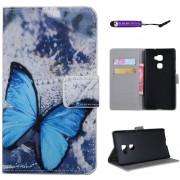 Funda Cartera de Piel con Soporte Ranura Cierre Magnᄄᆭtico Huawei Ascend Mate S Protector Carcasa PU Cuero (Azul Butterfly)