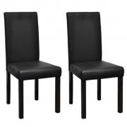 vidaXL Трапезни столове, 2 бр, черна изкуствена кожа