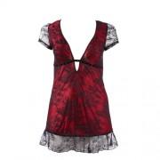 Zwart/Rood jurkje transparant XXXL