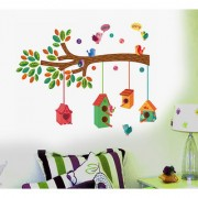 Pvc Nursery Colourful Bird House On A Branch Wall Decal (20X28 Inch)