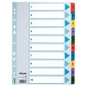 Separatoare carton color index 1-10 Mylar Esselte
