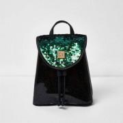 River Island Girls Black sequin drawstring backpack