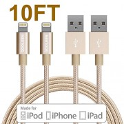 Lightning Cable, GOOLEEN 2Pack 10FT Nylon Braided Extra Long 8 pin USB Charger Cables and Sync Charging Cord For Apple iPhone 7/7 plus/SE/6/6s/6 plus/6s plus,iPad Pro/Air/Mini,iPod Nano/Touch- Gold