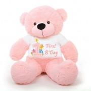 Pink 5 feet Big Teddy Bear wearing a First Happy Birthday T-shirt