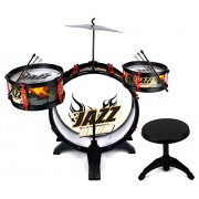 Fantastic Jazz Band 4 Piece Childrens Kids Musical Instrument Drum Play Set W/ 3 Drums, Cymbal, Chair, Kick Pedal, Drumsticks