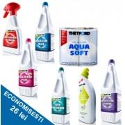 PACHET COMPLEX-B: 1 solutie de descompunere reziduuri + 4 solutii de curatare + 1 odorizant + hartie