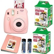 Fujifilm Instax Mini 8 Instant Film Camera (Pink) + 2 Fujifilm INSTAX Mini Instant Film Twin Pack ( = 40 Sheets) With Photo Album 64 Pockets Pink Value Set Bundle