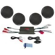 Pyle PLMRKT4B amplificador de 4 canales, resistente al agua, con dos pares de altavoces con control remoto y cable de conexión, Color: Negro