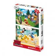 Puzzle 2 in 1 Mickey si prietenii - Ora de sport (66 piese)