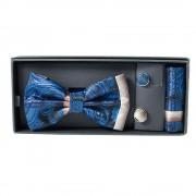 Set albastru cu papion, butoni si batista in cutie cadou