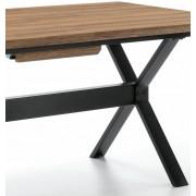 Mesa de Escritorio Sauk de diseño, Estructura metal Epoxy Negro Cristal Transparente