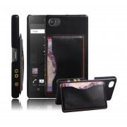 Sony Xperia Z5 Compact (4.6 inch) Funda Protector Rᄄᆰgida con Soporte Ranura (Black)
