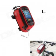 Roswheel Saddle Touch Screen Bag w/ Earphone Hole for Cell Phone - Red (Size L)