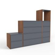 Highboard Nussbaum, MDF, 153 cm x 117 cm x 34 cm