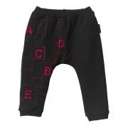 Pantaloni negri bebe, patchwork cu broderie alfabet si cusaturi decorative French Terry