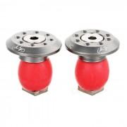 Enchufes de aluminio del extremo del manillar de la bici de JCSP S-117 - silver + red (2PCS)