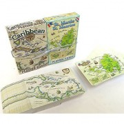 Caribbean Map and St. Martin Map Playing Cards Tourist Gift Vacation Gift Two Deck Set