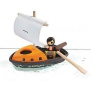 Drewniany statek piracki do wody - zestaw statek do kąpieli, do wanny, basenu + akcesoria, Plan Toys
