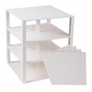 Premium White Stackable Base Plates - 4 Pack 10 x 10 Baseplate Bundle with 60 White Bonus Building Bricks LEGO Compatible - Tower Construction