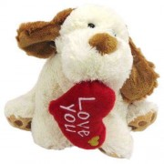 White and Brown 15 Inch Dog Soft Toy with Red Love You Heart