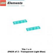 Lego Parts: Tile 1 x 4 (PACK of 2 - Transparent Light Blue)