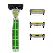 SHAVE-LAB - TRES - Set de afeitado inicial con 4 cuchillas (Green Edition con P.6+1 - para Hombre)