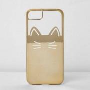 River Island Womens Gold foil cat phone case