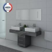 Distribain Meubles double vasque DIS988GT coloris Gris Taupe