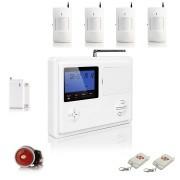 """IP-AP017-4 - безжична GSM аларма за дома с 3"""" LCD дисплей, клавиатура, 4 обемни датчика за движение, 1 МУК за врата и 2 дистанционни"""