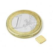 Magnet neodim bloc, 5x5x1 mm, putere 350 g, placat aur