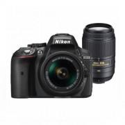 Aparat foto DSLR Nikon D5300 24.7 Mpx Kit AF-P 18-55mm VR si 55-300mm VR Black