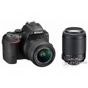 Aparat foto Nikon D5500 (AF-P 18-55 VR + 55-200 VRII), negru, 3 garanție body