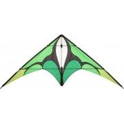 Aquilone acrobatico: Jive II HQ-Invento, colore Emerald, 2 cavi per iniziare e per tricks, apertura alare 197 cm, straps e cavi inclusi.